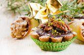 Sweet Cupcake With Christmas Decoracions