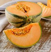 Fresh  Melon On  Wooden Table.