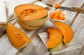 Melon On  A Wooden Table.