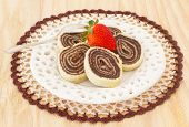 Bolo De Rolo Brazilian Chocolate Dessert With Strawberry