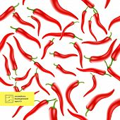 Chili Peppers Seamless Pattern. Vector