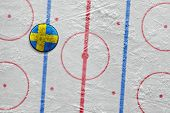 Swedish Hockey Puck Lying On The Floor