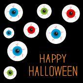 Eyeball Set With Bloody Streaks. Black Background. Happy Halloween Card. Flat Design Style.