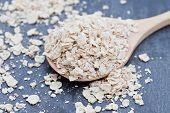 Porridge Oats On A Wooden Spoon
