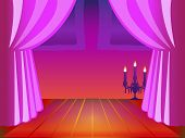 Room with Pink Curtain and Candle