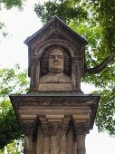 stock photo of leipzig  - The Altes Bach Denkmal meaning Bach old monument close to the St Thomas Church is the world oldest monument to Johann Sebastian Bach donated by Felix Mendelssohn Bartholdy in 1843 in Leipzig Germany - JPG