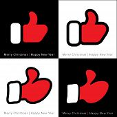 set of red mitten thumb up icons