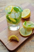 Glass with lemon water with mint