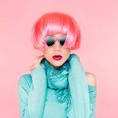 Glamorous fashion lady in pink wig