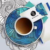 Vector Cup of coffee and floral ornament