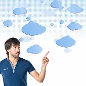 Man Thinking Over Sky Background