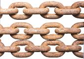 Rusty chain isolated on a white background