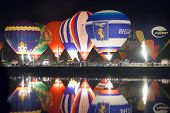 Minsk, Belarus. 13-september-2014:  Hot Air Balloon Glow Reflected In The River Water.