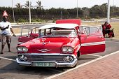 Restored Chevrolet On Display At Beachfront In Durban South Africa