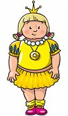 picture of obesity children  - Children vector illustration of little fat girl or princess in mediaval dress - JPG