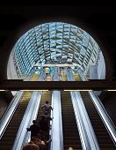 Budapest, Hungary - August 17: Passengers Passing By On The Escalator  In Budapest, Hungary Onaugust