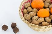 Small Basket with Walnuts and Tangerines