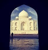 Vintage Retro Filtered Picture Of Taj Mahal, India.
