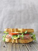 stock photo of deli  - Toasted ham and cheese sandwich with copyspace - JPG
