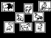 Animals postage stamps