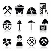 Coal mine, miner icons set