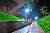 Perspective view of walkway at a garden
