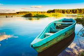 Old Wooden Fishing Boat In River