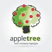 Abstract vector apple tree logotype isolated on white background