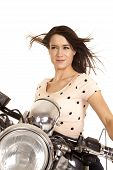 Woman Close On Motorcycle Hair Blowing Look Side