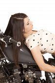 Woman On Motorcycle Lay On Gas Tank Dots On Shirt