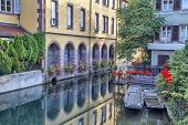 foto of petition  - Small touristic boats at the pier on river Lauch in Petite Venise Colmar France - JPG