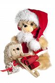 teddy bear with hat of santa claus and gifts