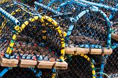 stock photo of lobster boat  - Closeup on Lobster pots on the dock England