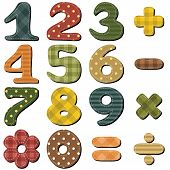 pic of poka dot  - scrapbook numbers and signs on white background vector - JPG