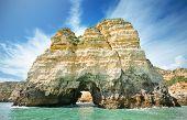 Scenic View Of A Coastline Landscape In Lagos, Algarve, Portugal