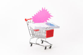 image of caddy  - Caddy for shopping with money stack on white background - JPG