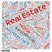 Vector concept or conceptual real estate or housing text word cloud tagcloud isolated on background, metaphor to investment, family, home, building, sale, residential, property, construction business