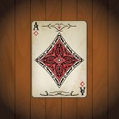 pic of ace spades  - Ace of diamonds poker cards old look varnished wood background - JPG