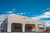 old abandoned desert gas station