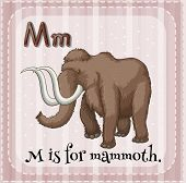 Illustration of a letter M is for mammoth
