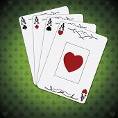 pic of ace spades  - Ace of spades ace of hearts ace of diamonds ace of clubs poker cards set green background - JPG