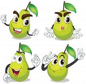 Illustration of pear with facial expressions
