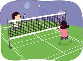 Stickman Illustration of Girls Playing Badminton Indoors