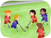 image of stickman  - Stickman Illustration of Girls Playing Field Hockey - JPG