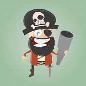 funny cartoon pirate with telescope