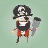 funny cartoon pirate with telescope