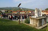 MARIJA BISTRICA, CROATIA - SEP 14: Unidentified participants of the Way of the Cross in Croatian national shrine of the Virgin Mary on Sep 14, 2013 in Marija Bistrica, Croatia