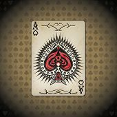 stock photo of ace spades  - Ace of spades poker cards old look vintage background - JPG
