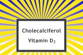 Cholecalciferol Vitamin D3 On Sunshine Background