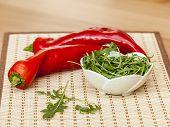 Sweet pepper and leaves of arugula